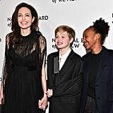Angelina was accompanied by daughters Shiloh and Zahara at the National Board of Review Annual Awards Gala in January 2018.