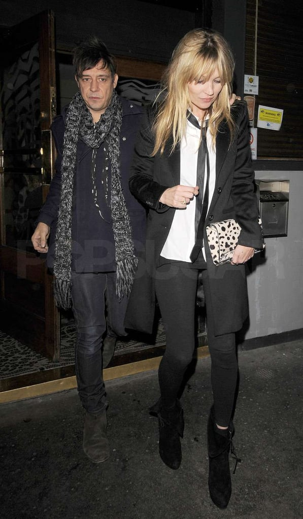 Jamie Hince led the way for Kate Moss last night as they left London's Groucho club. The pair hit the town for a late evening out to have some fun following Kate's November promotional push for her new fragrance, Vintage Muse. She and Jamie still managed to see their friends over the past month, as Kate helped organize birthday parties for her artist pal Lucian Freud and Dior designer John Galliano. Kate's now wrapping up another year of modeling for the world's top magazines, and her continued success has earned her a spot among The Financial Times's most influential women of the decade.