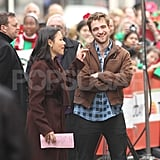 Robert Pattinson and Ann Curry got ready to shoot a sequence in NYC.
