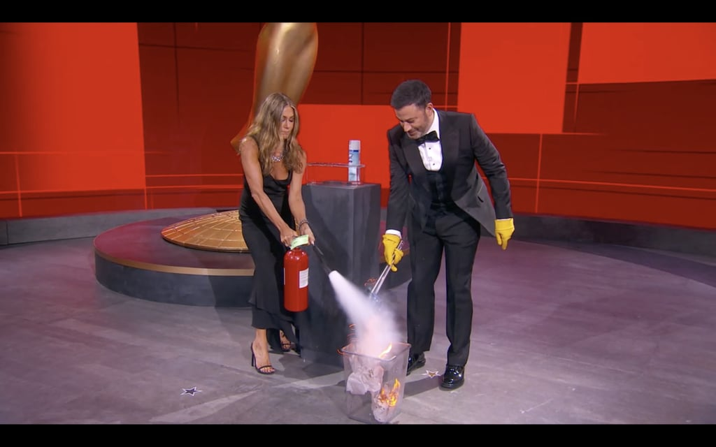 Jennifer Aniston and Jimmy Kimmel at the 2020 Emmys