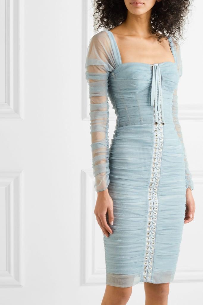Dolce & Gabbana Ruched Metallic Tulle Dress