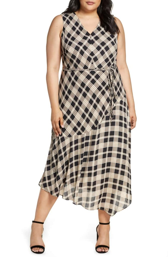 Vince Camuto Highland Plaid Asymmetrical Sleeveless Dress