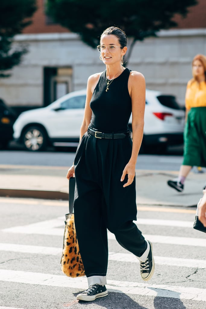 Don't overthink it — just add a tank to baggy jeans.