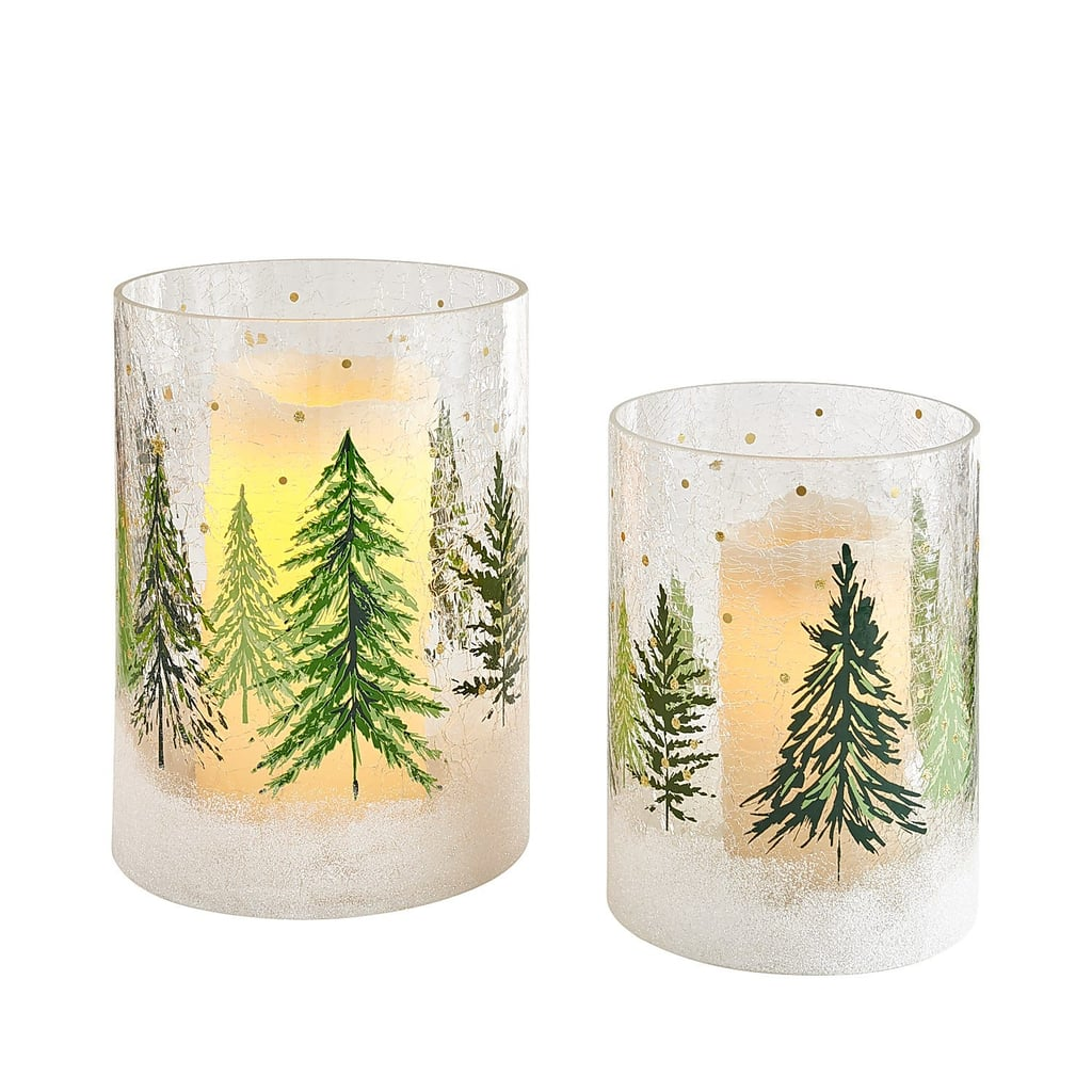 All Spruced Up Large Glass Hurricane Candle Holder