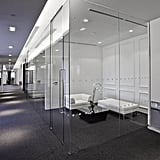 Glass walled meeting rooms keep everything light and bright.