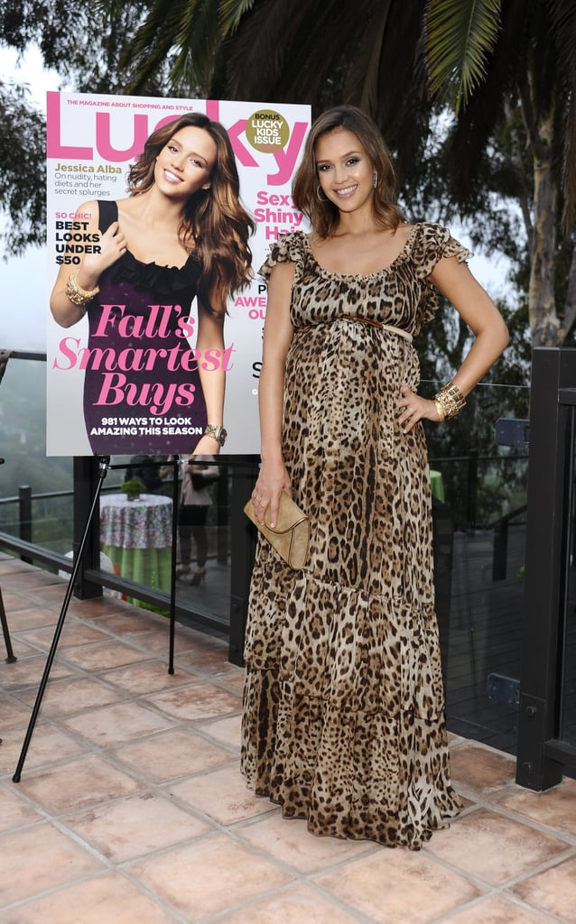 Jessica Alba in a leopard dress at a Lucky magazine event.
