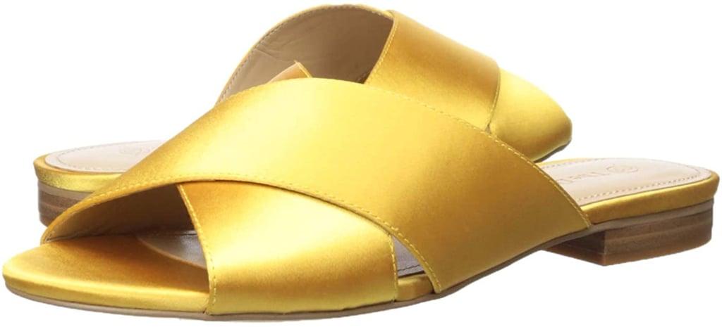 Amazon The Drop Women's Bristol Cross Strap Flat Sandal in Yellow