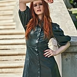 Shein x Madelaine Puff Sleeve Button Front PU Dress