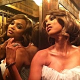Tyra Banks admired her reflection in an elevator. Source: Instagram user tyrabanks