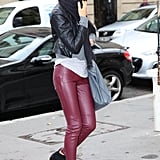 Irina Shayk matched her all-black Marant kicks with oxblood leather pants and a black leather jacket for a cool, textural look.