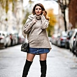 Style a Denim Mini With Thigh-High Boots and a Long Sweater