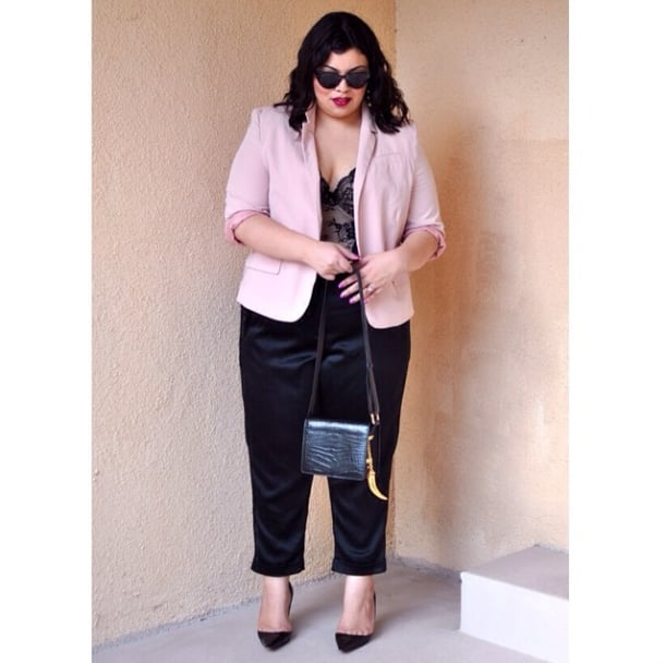 If you're not the dress type, take notes and make your trousers part of a standout outfit with a lingerie-inspired top and a pop of color on your blazer. Source: Instagram user pinklip