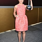 A brocade Markus Lupfer dress (£395) got the Maisie treatment with the addition of a Lulu Guinness disco ball bag (£284).
