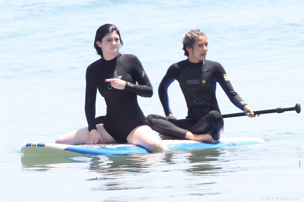 Kylie Jenner hit the water on a paddleboard with a friend in Malibu.