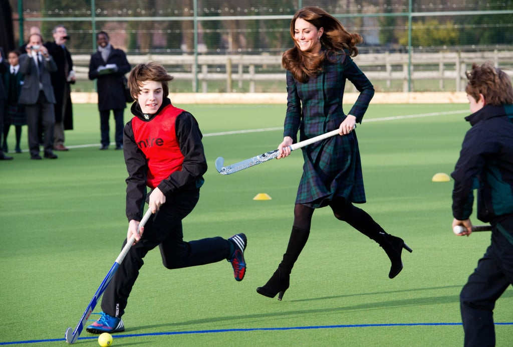 Just before her pregnancy announcement, Kate Middleton played field hockey in November 2012 with a group of children at St. Andrew's School in Berkshire, England.