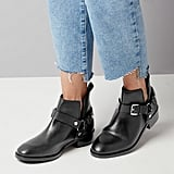 Black Leather Buckle Cut Out Ankle Boots (£50)
