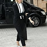 Julianne Hough wore a black-and-white suit to promote Safe Haven in London.