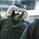 A man's glasses fogged up while he commuted to work in downtown Chicago.