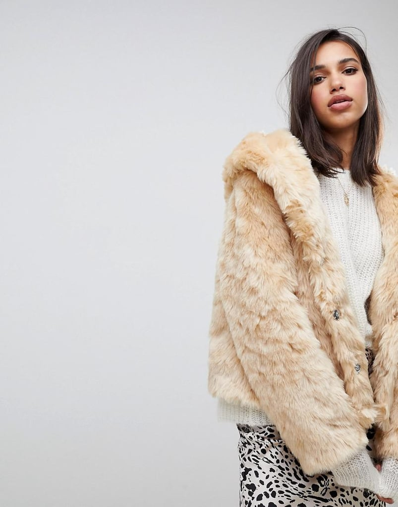 ASOS Hooded Fluffy Faux Fur Coat