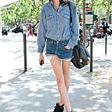 Denim on denim is simply cool with cutoffs and a classic chambray top.
