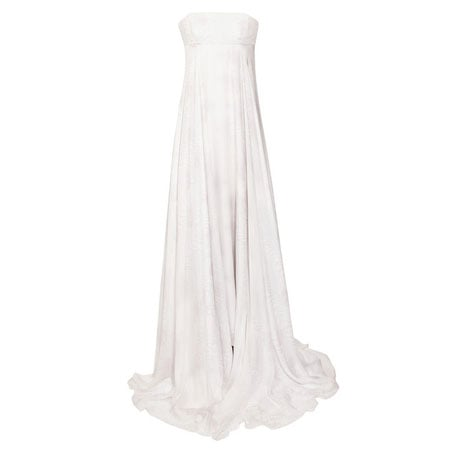 Printed Silk Chiffon Strapless Gown