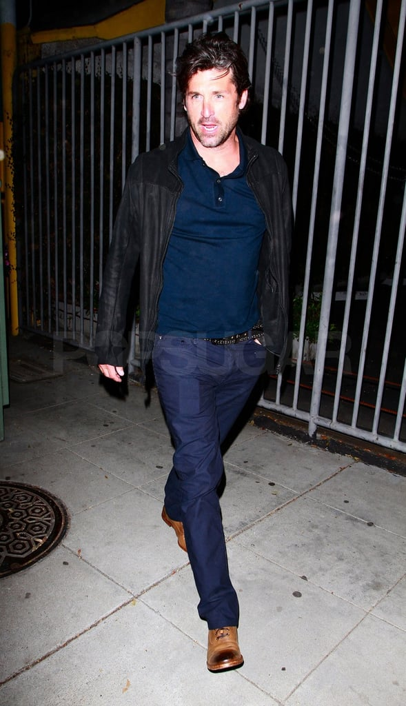 Patrick Dempsey strutted out of dinner to his awaiting car.