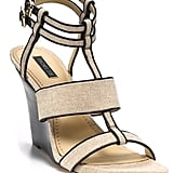 "A canvas-style wedge provides a beachy feel that's perfect for wearing with long, flowy dresses and looser silhouettes. Rachel Zoe ""Debra"" T-Strap Wedge ($255)"