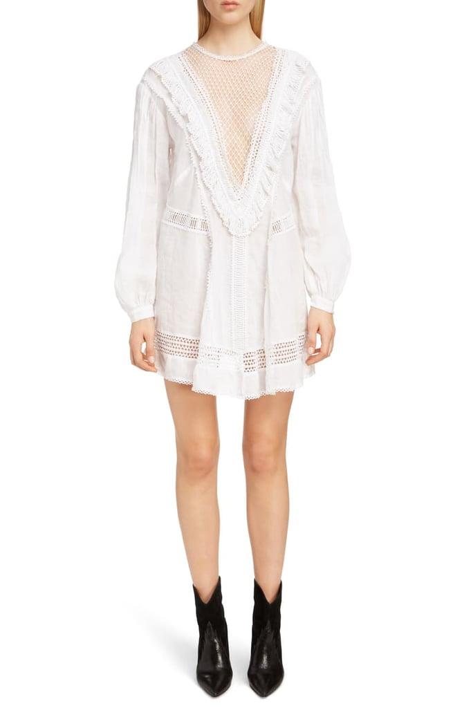 Isabel Marant Rowina Crochet Lace Inset Long Sleeve Dress Best