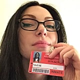 """Laura Prepon posted this shot of her as Alex with the caption """"Glasses✔️Eyeliner✔️Badge✔️ ...excited to get out there and make an awesome season for you guys! #season4 #alexvause #Oitnb #bestfansever,"""" and we're really hoping it's not just a flashback."""