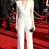 At this year's SAG Awards, Rose Byrne wore a risk-taking Elie Saab Couture jumpsuit on the red carpet, accessorizing with Chanel fine jewelry, Jimmy Choo shoes, and a Lena Erziak clutch.