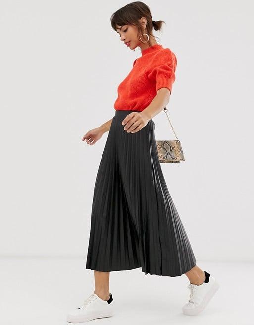ASOS Design Leather-Look Pleated Midi Skirt