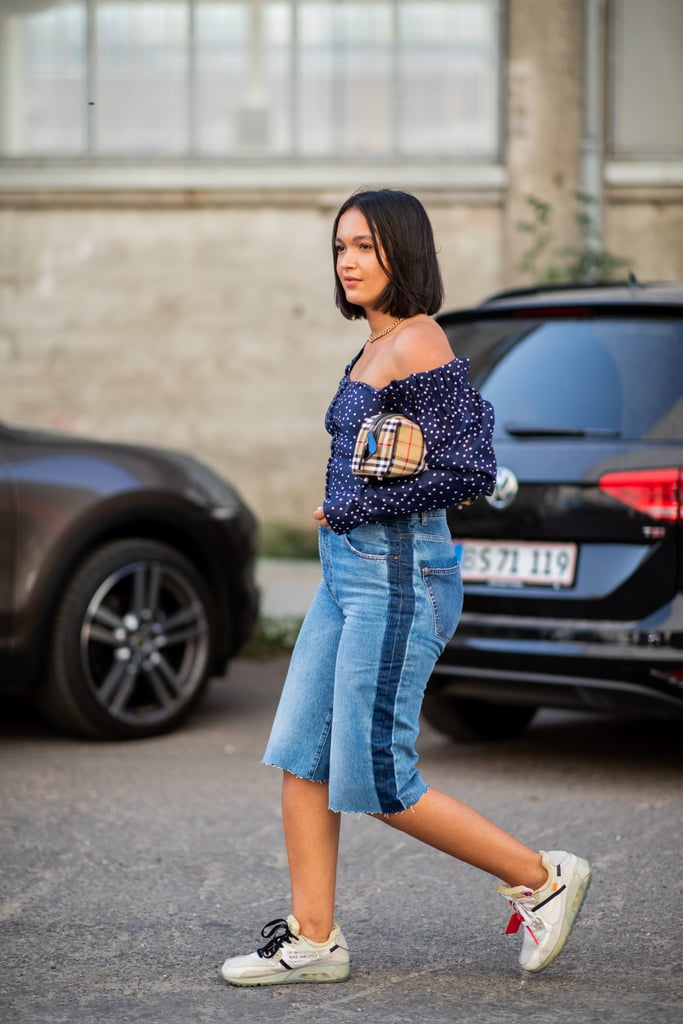 Skip full length jeans in favour of denim shorts, a top you can breathe in, and trusty trainers.