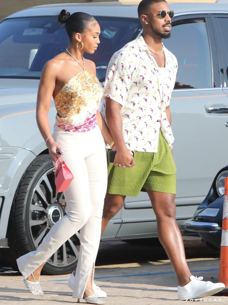 Lori Harvey Wears Bottega Veneta Crystal Mesh Heels