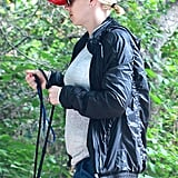 Anna Faris kept warm in a jacket but still managed to show off her growing baby bump.