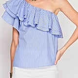 She + Sky One Shoulder Ruffle Top