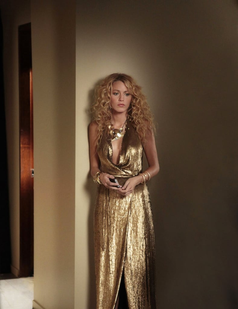 Serena van der Woodsen Wearing a Slinky Metallic Dress