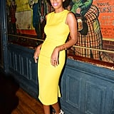 Solange Knowles hung out in a yellow dress while feting Max Mara's accessories campaign in New York.