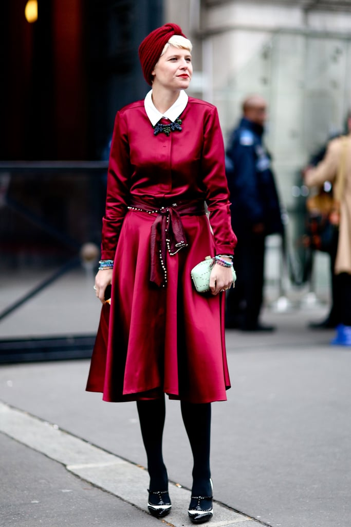 Elisa Nalin gave us a gorgeous berry-hued look on the streets between shows.