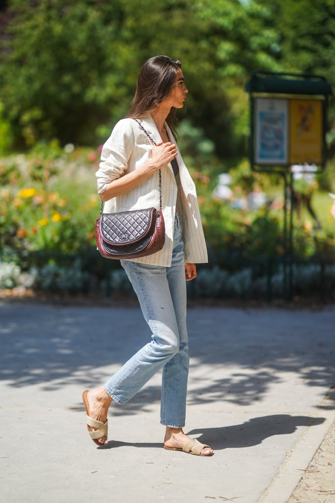 Wear Espadrille Slides With Light-Wash Jeans For a Summer-Friendly Look