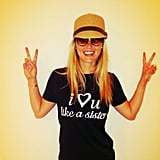 Bar Refaeli flashed double peace signs in a sweet t-shirt. Source: Instagram user barrefaeli