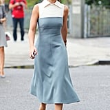 Miroslava Duma showed off a ladylike look and a pair of classic pumps.