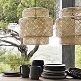Bamboo-lattice pendant lights ($60 each) are a refreshing break from the typical Ikea aesthetic.