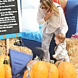 Jessica Alba helped Haven walk around the pumpkin patch.