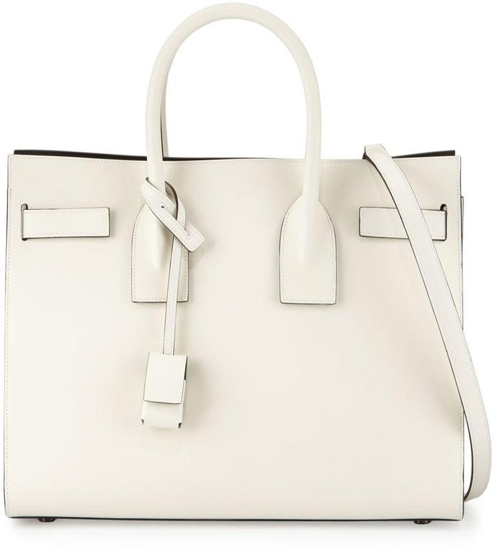 Saint Laurent Sac de Jour Small Bicolor Satchel Bag, White/Black ($2,890)