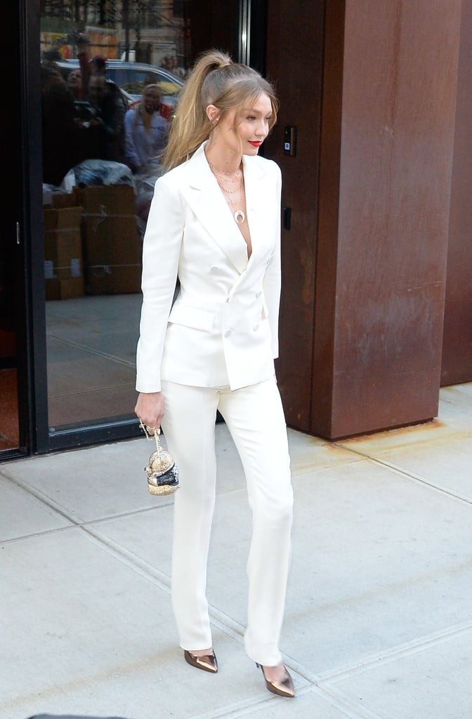 Gigi Hadid White Suit and Bear Bag