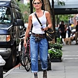 Jen's Worn Booties and Socks With Her Jeans