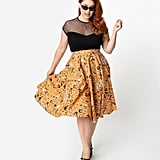 Plus-Size Retro Orange Halloween Print High-Waist Swing Skirt