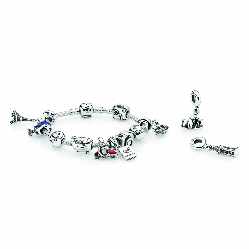 Bracelet, $89, silver travel charms from $35 each.