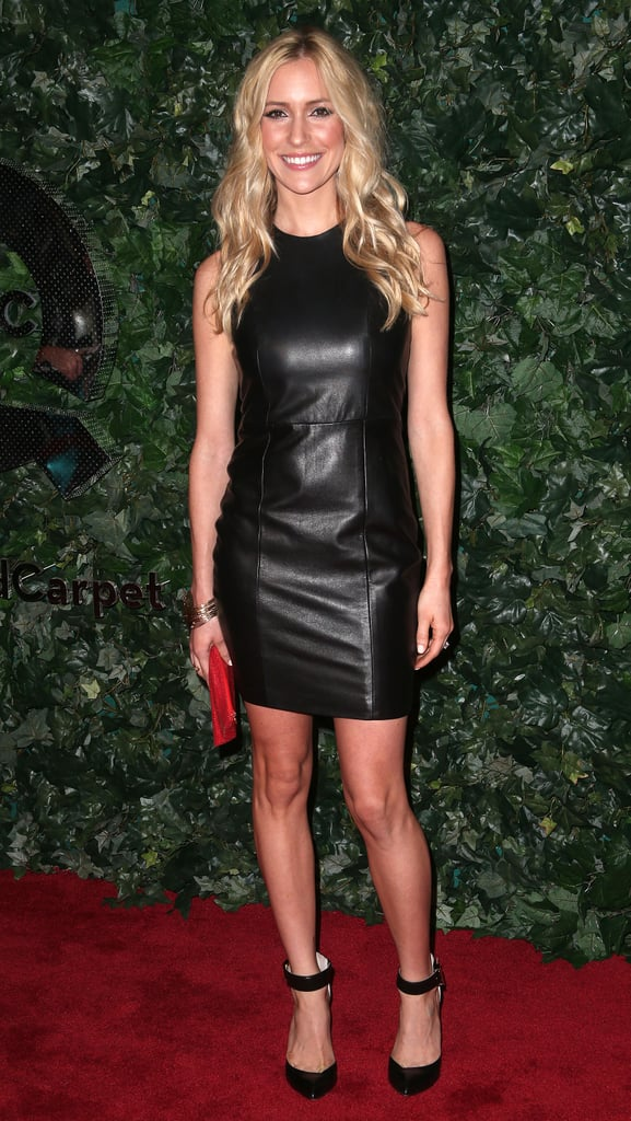 At QVC's Pre-Oscar soiree, Kristin Cavallari was slick in a little black leather dress, ankle-strap pumps, and a red clutch.