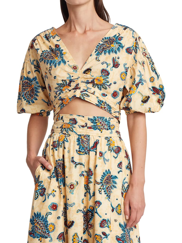 A.L.C. Rylan Floral Puff-Sleeve Cropped Top